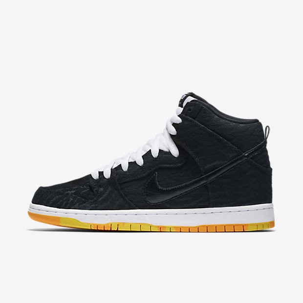 detailed look 1af31 d6394 ... Nike SB Dunk High Premium  Skunk  Black White Laser Orange Black ...