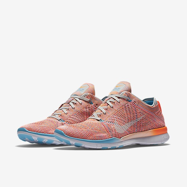 hot sale online 5a106 2a20c ... Nike Free TR 5 Flyknit Total Orange Gamma Blue Pure Platinum White  Womens ...