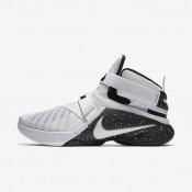 Nike Zoom LeBron Soldier 9 FLYEASE White/Black/Metallic Silver/White Mens Basketball Shoes