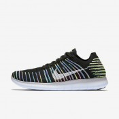 Nike Free RN Flyknit Black/Volt/Blue Lagoon/White Womens Running Shoes