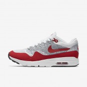 Nike Air Max 1 Ultra Flyknit White/Pure Platinum/Cool Grey/University Red Womens Shoes
