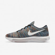 Nike LunarEpic Low Flyknit Black/Blue Glow/Green Glow/Summit White Mens Running Shoes