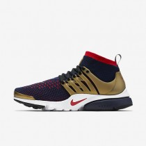 Nike Air Presto Ultra Flyknit College Navy/Metallic Gold/White/Comet Red Mens Shoes
