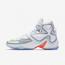 Nike LeBron XIII White/Bright Mango/Action Green/Black Mens Basketball Shoes