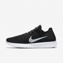 Nike Free RN Flyknit Black/White Mens Running Shoes