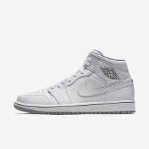 Nike Air Jordan 1 Mid White/Wolf Grey/White Mens Shoes