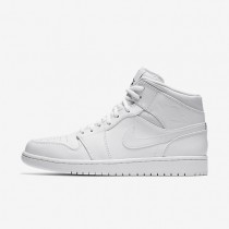 Nike Air Jordan 1 Mid White/White/Black Mens Shoes