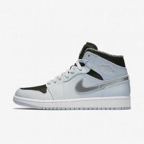 Nike Air Jordan 1 Mid Pure Platinum/Metallic Silver/Black/White Mens Shoes