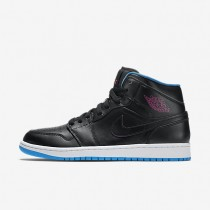 Nike Air Jordan 1 Mid Black/Photo Blue/Fire Pink Mens Shoes