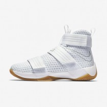 Nike Zoom LeBron Soldier 10 SFG White/White/Metallic Silver Mens Basketball Shoes