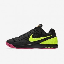 Nike Court Zoom Cage 2 Black/Pink Blast/Volt Mens Tennis Shoes