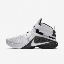 Nike Zoom LeBron Soldier 9 FLYEASE White/Black/Metallic Silver/White Mens Basketball Shoes