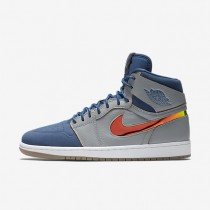 Nike Air Jordan 1 Retro High Nouveau Wolf Grey/French Blue/White/Gold Leaf Mens Shoes