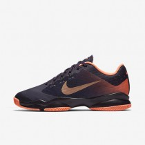 Nike Court Air Zoom Ultra Purple Dynasty/Bright Mango/Metallic Rose Gold Womens Tennis Shoes