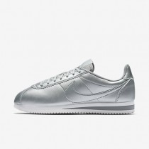 Nike Classic Cortez Leather Metallic Silver/Summit White/Metallic Silver Womens Shoes