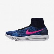Nike LunarEpic Flyknit Black/Blue Glow/Deep Royal Blue/Pink Blast Womens Running Shoes