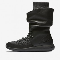 Nike Roshe Two Flyknit Hi Black/Dark Grey/Pure Platinum/Black Womens Shoes