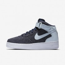 Nike Air Force 1 07 Mid Leather Premium Midnight Navy/Blue Grey/White/Midnight Navy Womens Shoes
