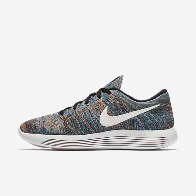 Nike LunarEpic Low Flyknit Black/Blue Glow/Green Glow/Summit White Mens Running Shoes