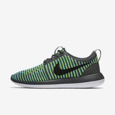 Nike Roshe Two Flyknit Dark Grey/Gamma Blue/Volt/Black Mens Shoes