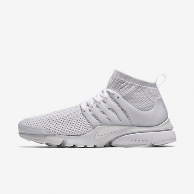 Nike Air Presto Ultra Flyknit White/White/Total Crimson/White Mens Shoes