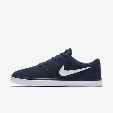 Nike SB Check Solarsoft Midnight Navy/White Mens Skateboarding Shoes