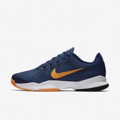 Nike Court Air Zoom Ultra Coastal Blue/Bright Citrus/White Mens Tennis Shoes