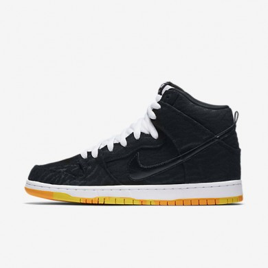 Nike SB Dunk High Premium 'Skunk' Black/White/Laser Orange/Black Mens Skateboarding Shoes