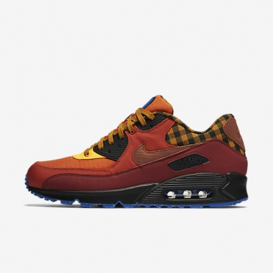 Nike Air Max 90 Premium Dark Cayenne/Gold Suede/Blue Spark/Cognac Mens Shoes