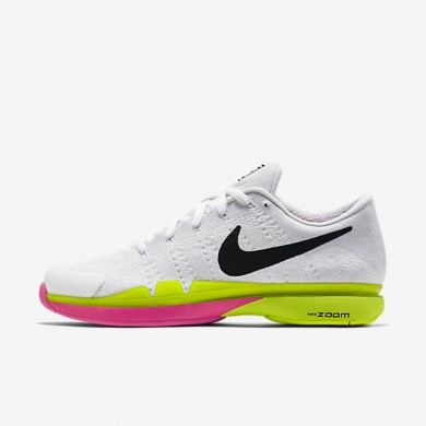 Nike Court Zoom Vapor 9.5 Flyknit White/Total Orange/Volt Mens Tennis Shoes