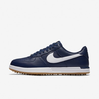 Nike Lunar Force 1 Midnight Navy/Gum Yellow/White Mens Golf Shoes