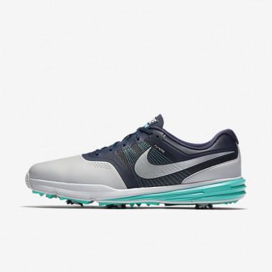 Nike Lunar Command Pure Platinum/Midnight Navy/Clear Jade/Metallic Silver Mens Golf Shoes