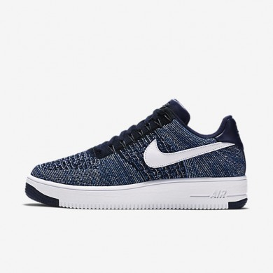 Nike Air Force 1 Flyknit Low Obsidian/Star Blue/Pure Platinum/White Mens Shoes