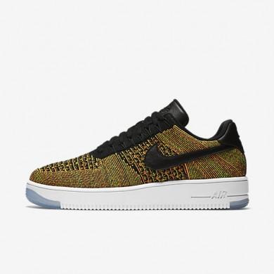 Nike Air Force 1 Flyknit Low Volt/Total Orange/White/Black Mens Shoes