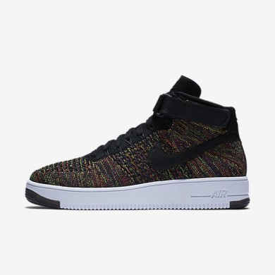 Nike Air Force 1 Ultra Flyknit Black/Court Purple/Volt/Bright Crimson Mens Shoes