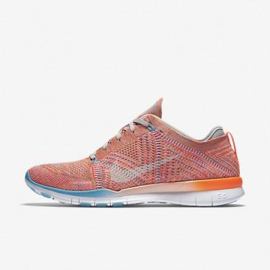 Nike Free TR 5 Flyknit Total Orange/Gamma Blue/Pure Platinum/White Womens Training Shoes