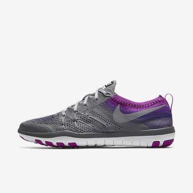 Nike Free TR Focus Flyknit Cool Grey/Hyper Violet/Summit White/Wolf Grey Womens Training Shoes