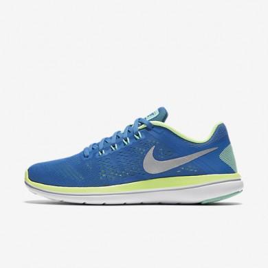 Nike Flex 2016 RN Fountain Blue/Ghost Green/White/Metallic Silver Womens Running Shoes