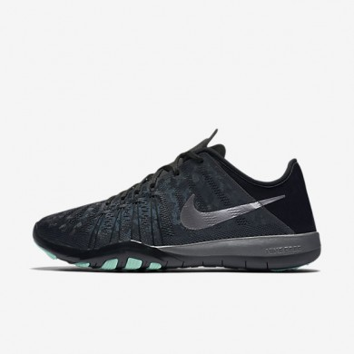 Nike Free TR 6 Metallic Dark Grey/Black/Green Glow/Metallic Silver Womens Training Shoes