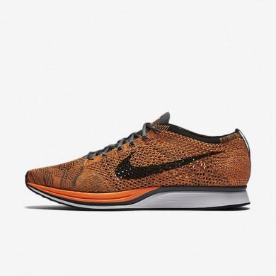 Nike Flyknit Racer Total Orange/Dark Grey/White Womens Running Shoes