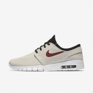 premium selection 7cb5e ff530 Nike SB Stefan Janoski Max L Light Bone Black White Team Red Mens