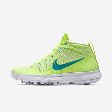 Nike Flyknit Chukka Volt/White/Liquid Lime/Clear Jade Womens Golf Shoes