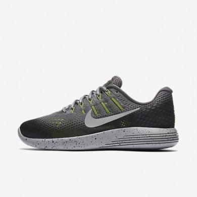 Nike LunarGlide 8 Shield Dark Grey/Black/Volt/Metallic Silver Womens Running Shoes