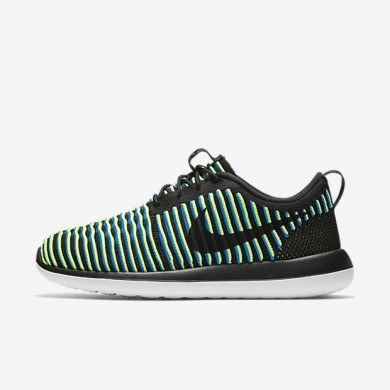 Nike Roshe Two Flyknit Black/Photo Blue/Volt/Black Womens Shoes