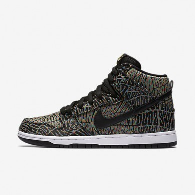 Nike SB Dunk High Premium 'Tripper' Black/Rainbow/White/Black Mens Skateboarding Shoes