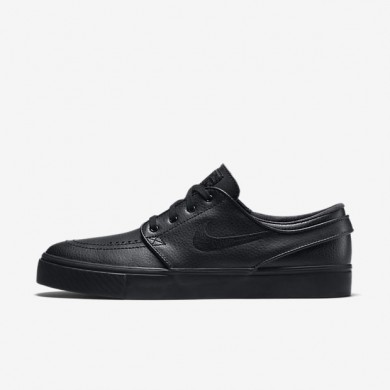 Nike SB Zoom Stefan Janoski Leather Black/Black/Anthracite/Black Mens Skateboarding Shoes
