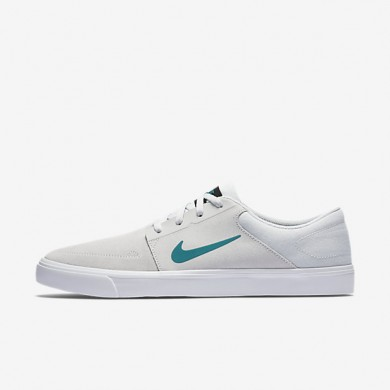 Nike SB Portmore Pure Platinum/White/Black/Rio Teal unisex Skateboarding Shoes